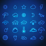 Комплект неоновых значков погоды хода иллюстрация штока