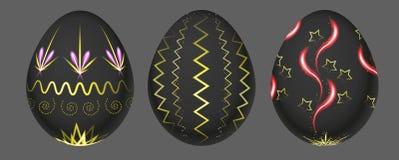 Комплект 3 неоновых пасхальных яя иллюстрация вектора