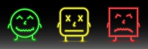 Комплект неоновых смайликов улыбки Линия значки Сторона счастливых, pocker, и несчастные smileys Комплект Emoji Стоковое Изображение