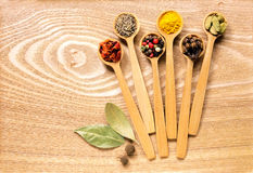 Комплект нескольких специй в деревянных ложках Стоковая Фотография