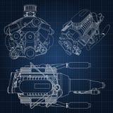 Комплект нескольких типов мощного двигателя автомобиля Двигатель нарисован с белыми линиями на синем листе в клетке Стоковые Изображения RF