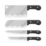 Комплект ножа для варить в кухне милый шарж отрезка de бумаги Стоковая Фотография RF