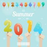 Комплект номера мороженого с рукой вверх на концепции 2014 лета Стоковое Изображение RF