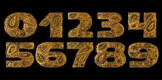 Комплект номеров декоративный с орнаментом татуировки doodle Дзэн Пейсли Стоковое фото RF