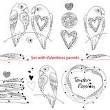Комплект дня валентинки вектора в стиле контура Конспектируйте пар попугаев в влюбленности, богато украшенных сердцах и рамке изо иллюстрация вектора