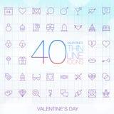 Комплект дня 40 ультрамодный тонкий валентинок значков Стоковые Фотографии RF