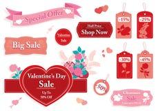 Комплект дня ` s валентинки знамен и ценников продажи Стоковое Изображение