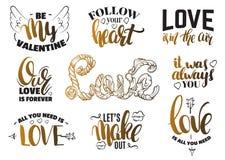 Комплект дня ` s валентинки St цитат с написанной рукой литерностью чернил Стоковые Фотографии RF