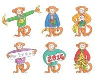 Комплект обезьяны Нового Года Стоковое Изображение