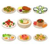 Комплект обеда европейца значков еды иллюстрация вектора