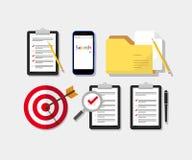 Комплект обзора, контрольного списока и значка папки Стоковое Изображение RF