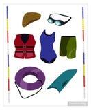 Комплект оборудования заплывания на белой предпосылке Стоковое Фото
