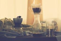Комплект оборудования кофе, кофе потека Стоковое фото RF