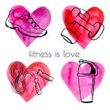 Комплект оборудования спорта doodle с сердцами Иллюстрация штока