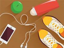 Комплект оборудования фитнеса вектора Минимальная плоская иллюстрация Тапки, бутылка воды, наушники и телефон, яблоко на деревянн Стоковые Фотографии RF