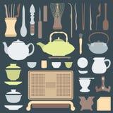 Комплект оборудования церемонии чая сплошных цветов Стоковые Фото