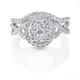 Комплект обручального кольца свадьбы диаманта современного двойного венчика круглый гениальный каменный Стоковые Изображения