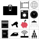 Комплект общежития значков также вектор иллюстрации притяжки corel Стоковые Фотографии RF