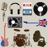Комплект объектов музыки и звука Стоковая Фотография