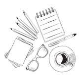 Комплект объектов нарисованных рукой для бизнесменов Стоковые Фотографии RF