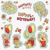Комплект объектов для открыток, приветствий с днем рождения, счастья и потехи Стоковое Фото