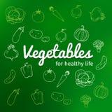 Комплект овощей вручает вычерченное, овощи текста на здоровая жизнь Стоковые Фотографии RF
