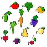 Комплект овощей и плодоовощей значков Стоковые Изображения