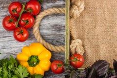 Комплект овощей около деревянного подноса Стоковая Фотография RF