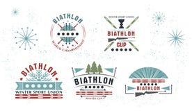 Комплект логотипа биатлона также вектор иллюстрации притяжки corel Собрание значков спорта зимы изолированное для дизайна Стоковые Изображения