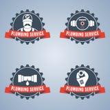 Комплект логотипа вектора обслуживания трубопровода иллюстрация штока