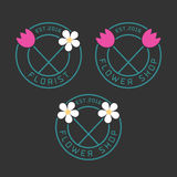 Комплект логотипа вектора цветочного магазина иллюстрация штока