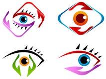 Комплект логотипа заботы глаза иллюстрация вектора