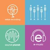 Комплект логотипа значков символов звуковой войны Стоковые Фото