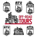 Комплект логотипа и эмблем корабля ATV Вездеходная иллюстрация квада 4x4 Стоковые Изображения