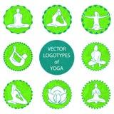 Комплект логотипа йоги вектора Стоковая Фотография