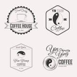 Комплект логотипа кофе Стоковые Фото