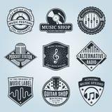 Комплект логотипа музыки вектора, значков и элементов дизайна Стоковое Изображение