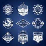 Комплект логотипа музыки вектора, значков и элементов дизайна Стоковые Фотографии RF