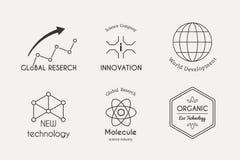 Комплект логотипа науки вектора иллюстрация штока