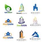 Комплект логотипа недвижимости иллюстрация вектора