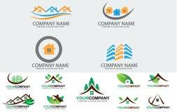 Комплект логотипа недвижимости Стоковое Фото
