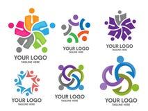 Комплект логотипа общины людей социальный Стоковые Изображения RF