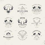 Комплект логотипа охотников живой природы Стоковое Изображение