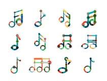 Комплект логотипа примечания музыки, плоская тонкая линия геометрические значки Стоковое Изображение RF