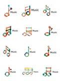Комплект логотипа примечания музыки, плоская тонкая линия геометрические значки Стоковое Фото