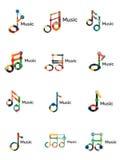 Комплект логотипа примечания музыки, плоская тонкая линия геометрические значки Стоковое фото RF