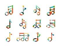 Комплект логотипа примечания музыки, плоская тонкая линия геометрические значки Стоковые Фото