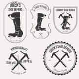 Комплект логотипа ремонта ботинка Стоковая Фотография