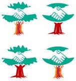 Комплект логотипа рукопожатия Стоковое Фото