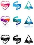Комплект логотипа рукопожатия Стоковые Фото